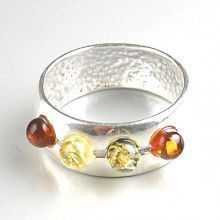 Contemporary Silver and Amber Ring