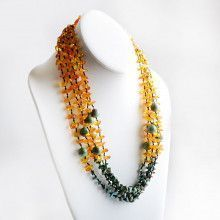 "24"" Amber and Turquoise Multi-String Necklace"