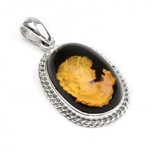 Amber Carved Cameo Pendant