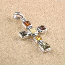 Multi-Stone Amber Cross
