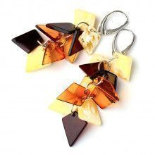 Dangling Amber Chips Earrings