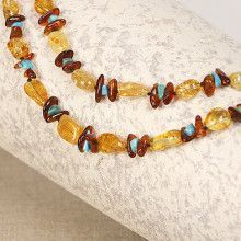 Amber Turquoise Patterned Necklace