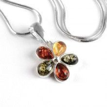 Colorful Amber Flower Pendant