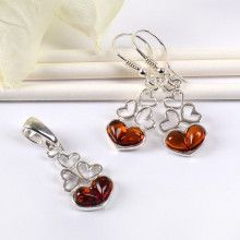 Amber with Silver Hearts Jewelry Set