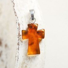 Simple Amber Cross Pendant