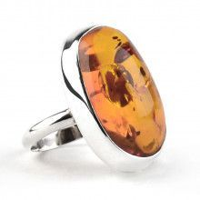 Oval Honey Amber Ring With Inclusions