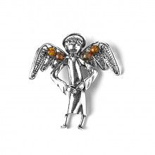 Guardian Angel Pendant with Amber Wings