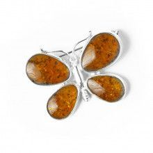 Amber Butterfly Pendant or Pin