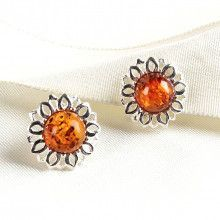 Honey Amber Clip On Flower Earrings