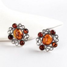 Honey and Cognac Floral Amber Earrings