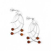Silver and Amber Dangling Earrings