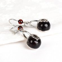 Cherry Amber Ball Earrings