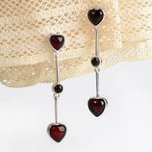 Cherry Hearts Amber Earrings