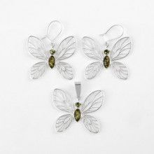 Green Amber Butterfly Earrings and Pendant Set