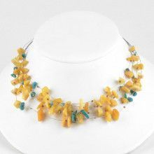 Butterscotch Amber & Turquoise Floating Necklace