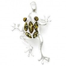 Leapfrog Silver and Green Amber Pendant