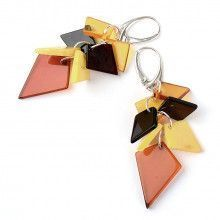 Multi-colored Amber Cluster Cascade Earrings