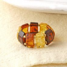 Multi-colored Amber Stretch Barrel Ring