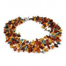 Multi-colored Amber and Turquoise Choker Necklace