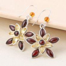 Cognac and Citrine Amber Floral Earrings