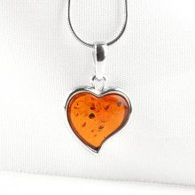 Honey Amber Heart Pendant