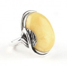 Butterscotch Amber & Silver Ring