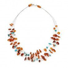 Amber and Turquoise Lace Amber Necklace