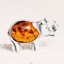Amber in Silver Elephant Pin