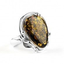 Green Amber Silver Lilly Design Ring