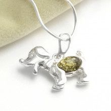 Green Amber Dog Pendant