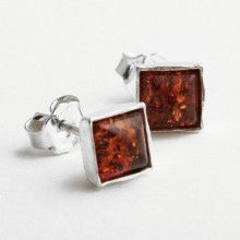 Amber Square Stud Earrings