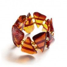 Honey Amber Chips Stretchy Ring