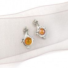 Dainty Amber & Silver Earrings