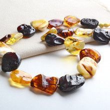 Natural Cut Amber Necklace