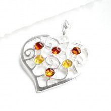 Silver Heart Filigree With Amber Pendant