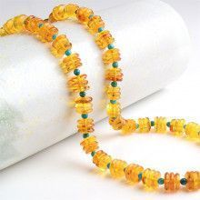 Amber & Turquoise Beaded Necklace