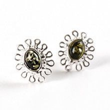 Dainty Green Amber Earrings - Studs