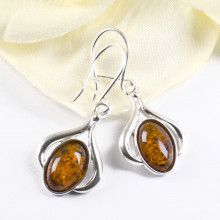 Amber Oval in Silver Earrings