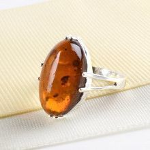 Cognac Amber Oval Ring