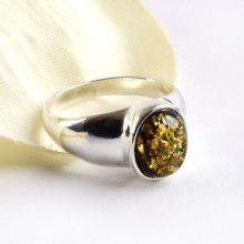 Green Amber Oval Ring