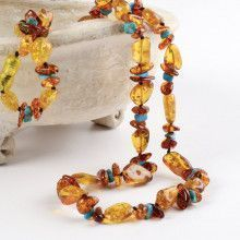 "28"" Amber And Turquoise Nuggets Necklace"