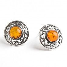 Round Honey Amber Clip On Earrings