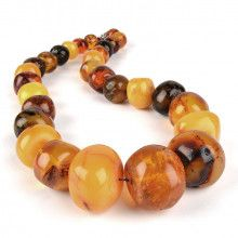 Antique Large Amber Nugget Beads Necklace