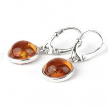 Honey Amber Bezel Drop Earrings