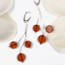 Honey Amber Discs Earrings