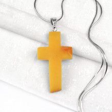 Natural Butterscotch Amber Cross Pendant
