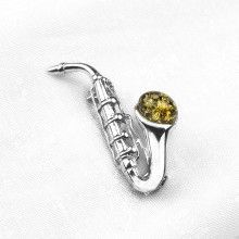 Green Amber Saxophone Pin