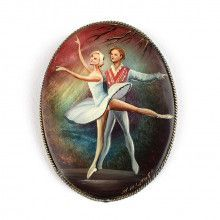Ballet Dancers Hand Painted Brooch
