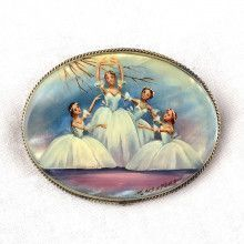 Swan Lake Ballet Mother of Pearl Brooch