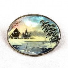 Russian Winter Village Brooch